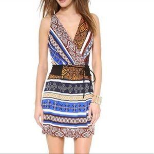 DVF Oblixe Wrap Desert Bands Silk Mini Dress